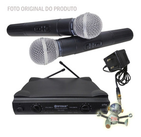 Microfone Profissional Sem Fio Duplo Wvngr Sm-58