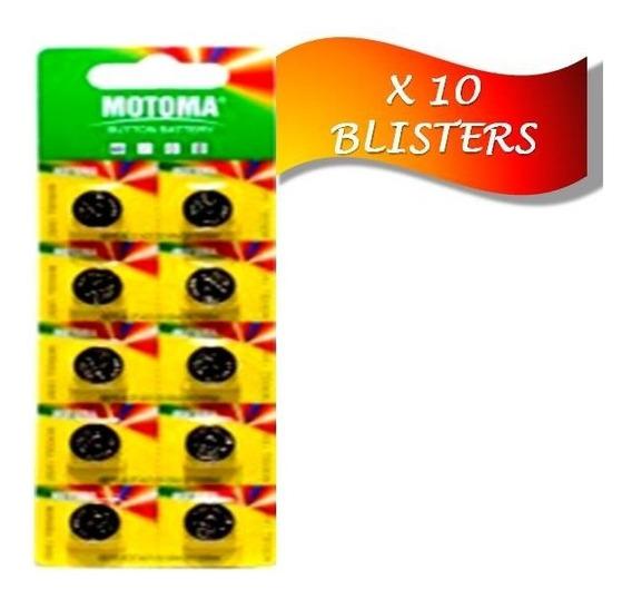 Pila Batería Alcalina Ag13 Lr44 Motoma Pack 10blisters 100 U