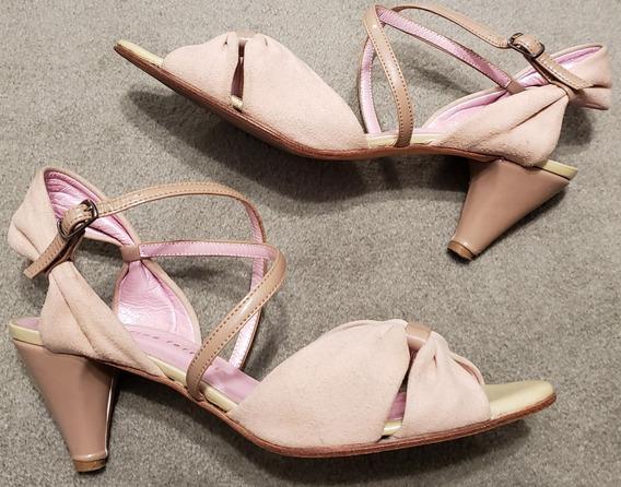 Zapatos Josefina Ferroni Rosa Nude N* 39 - Gamuza Y Charol