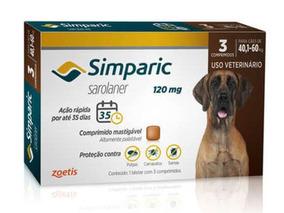 Antipulgas Simparic 120 Mg Cães 40,1 A 60 Kg - 3 Comp. 03/20