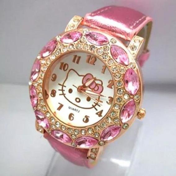 Relógio Infantil Para Menina Hello Kitty Com Strass Promoção