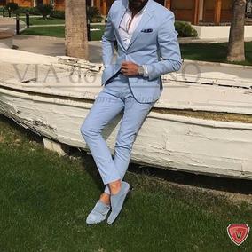Terno Masculino Slim Azul Bebê 2019 Para Noivos Casamentos