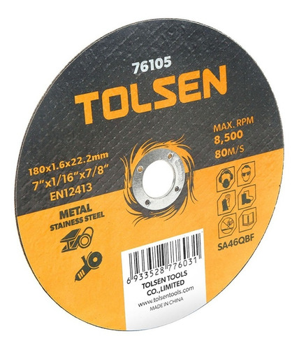 Disco Corte P/metal Y Acero Inox 5'' X 10 Und Tolsen  -76103
