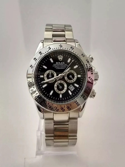 Relógio Masculino Prata Fundo Preto Daytona