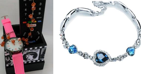 Kit Relógio Feminino Rosa Com Pulseira Cristal Azul Coração