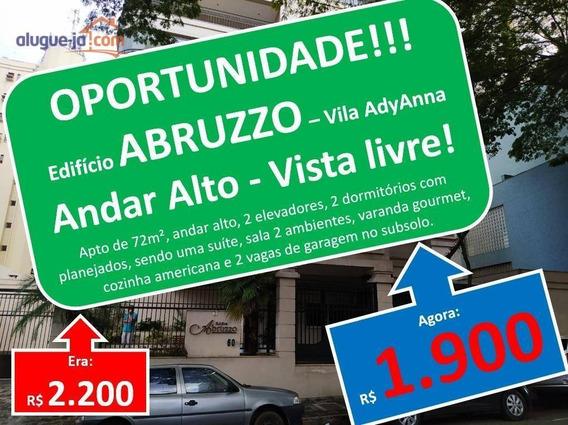 Apartamento Com 2 Dormitórios Para Alugar, 72 M² Por R$ 1.900,00/mês - Vila Adyana - São José Dos Campos/sp - Ap9426