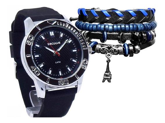 Kit Relógio Seculus Masculino 23611g0svni1 + Pulseira Azul