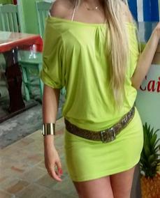 Vestido Veste Legging Neon Verde Limão