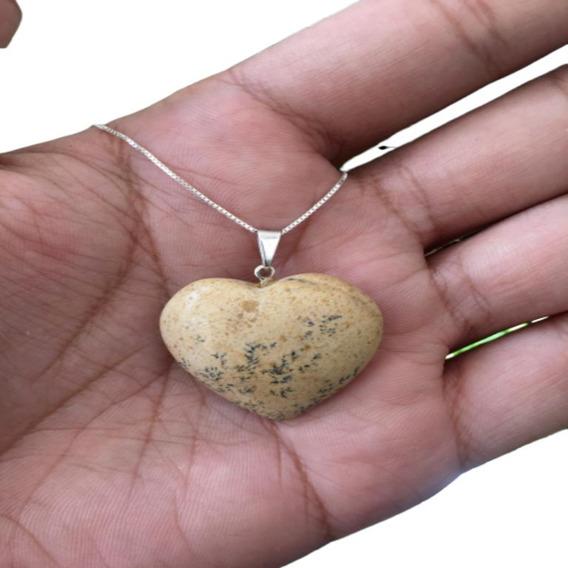 Cordão Colar Pingente Pedra Jaspe Prata 925 Cl51