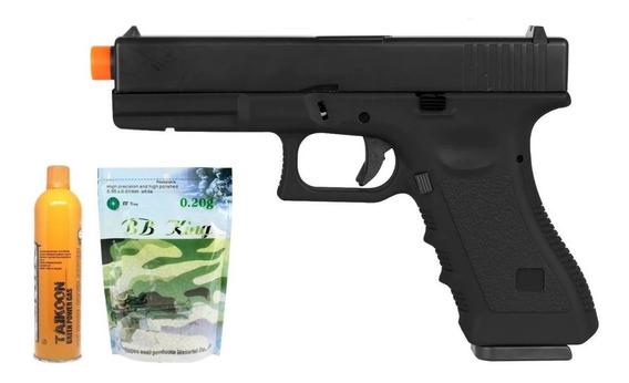 Pistola Airsoft Gbb Glock R17 Metal + Green Gás + Esferas