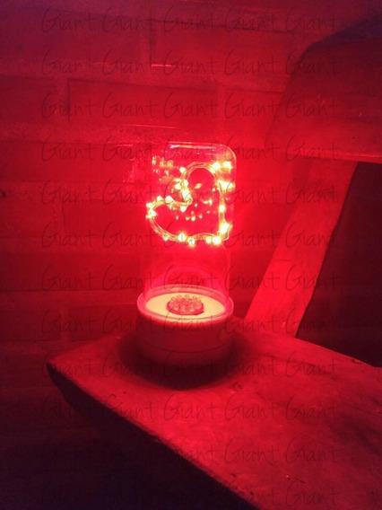 3 Cúpula Redoma Luminária Led Coração À Pilha Vermelha
