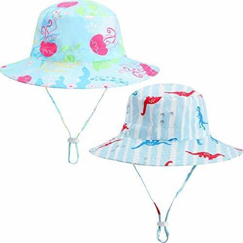 2 Piezas Bebe Niño Niños Sol Sombrero Proteccion Uv Transp
