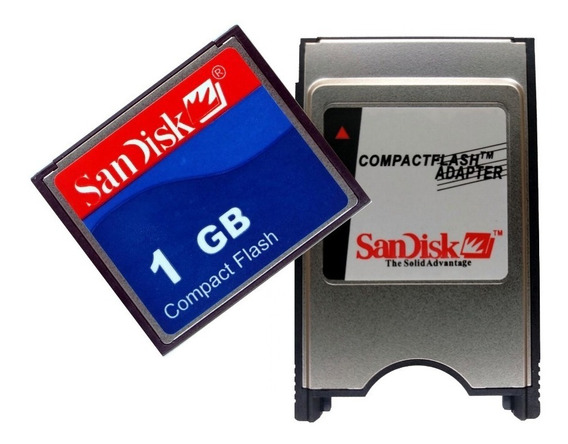Kit Adaptador Compact Flash Pcmcia + Cf 1gb Sandisk + Nfe