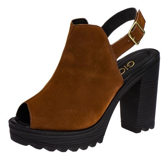 Sandalia Avarca Feminina Tratorada Sapato Anabela Salto G9