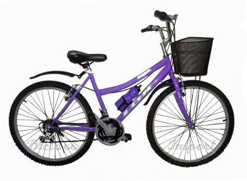 Bicicleta Dama Campera Canasta Aro 24 18v Componente Taiwan