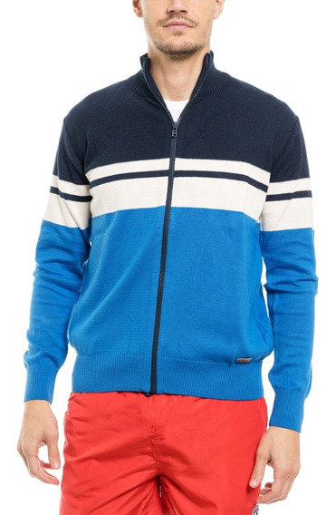 Cardigan Con Cierre Sweater Rayado 100% Algodón Toche