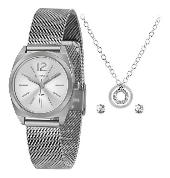 Kit Relógio Feminino Lince Puls Aço Lrmh121l-kx33s2sx