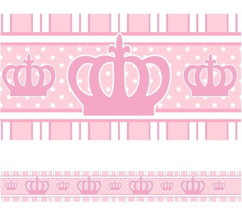 Imagem 1 de 1 de Faixa De Parede Adesivo Infantil Quarto Princesa Coroa