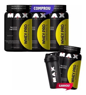 Kit Whey Protein - Max Titanium - Compre 3, Leve 4 + Coquet