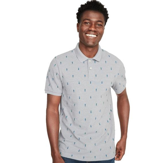 Playera Polo Hombre Manga Corta Estampado Old Navy