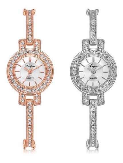 Relógio De Pulso Feminino Pequeno Com Strass Rose Luxo