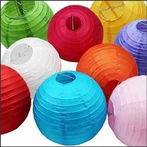 10 Lanterna Japonesa Colorida 30cm Decoração Festa Tecido
