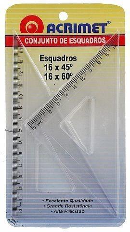 Imagem 1 de 1 de Conjunto Acrimet De Esquadro De 30 E 60 Graus 16 Cm 566.0