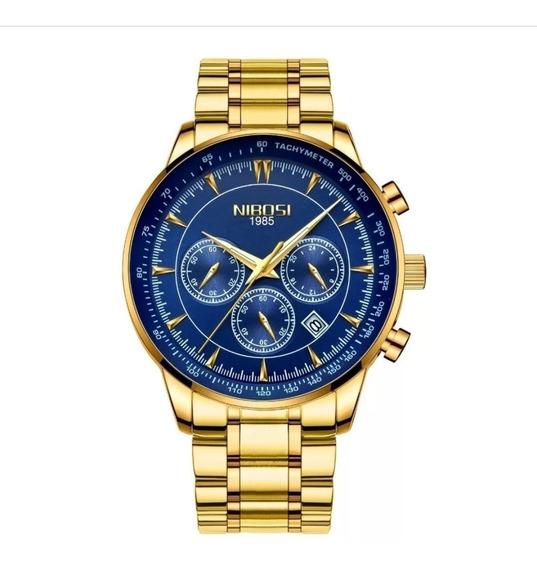 Relógio Nibosi Original Dourado Azul 2351 Todo Funcional Promoção