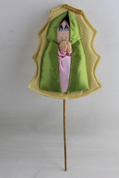 Virgen De Tela Para Arreglo De Mesa Con Manto Verde