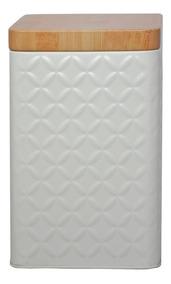 Pote De Metal Retangular Wood Lid Branco 10,7x16,1cm