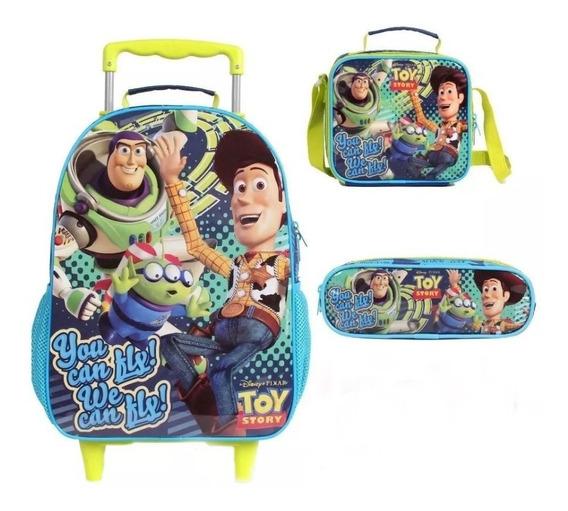 Kit Mochila De Rodinhas Infantil Toy Story + Lancheira + Est