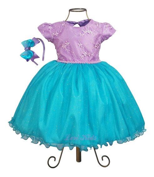 Vestido Infantil Princesa Ariel Festa Com Tiara Luxo