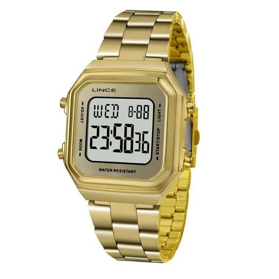 Relógio Dourado Feminino Lince Digital Sdg616l Bxkx