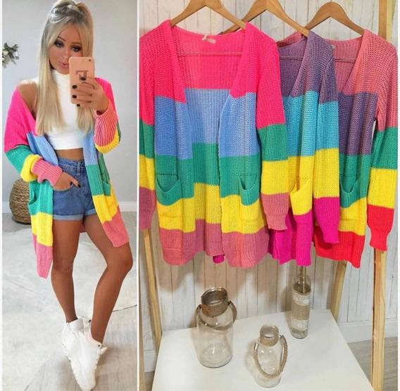 Casaco Tricot Rainbow Blogueira