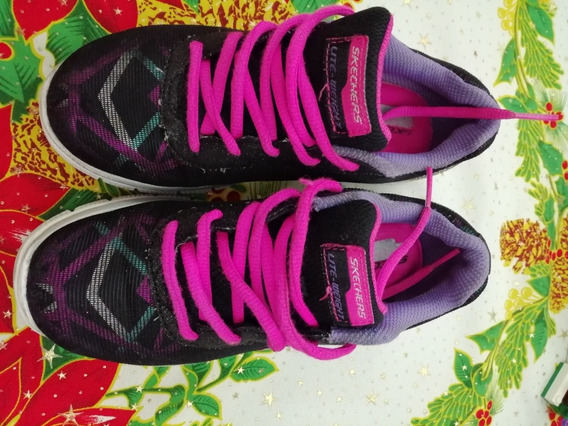 Zapatos Skichers Niña Negros Con Fuscia N 13,5/33