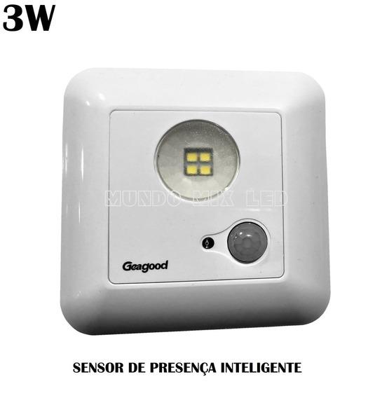 Spot Sensor Presença C/ Led P/ Garagem Corredor 3w 6500k