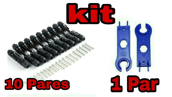 Kit 10 Pares De Conector Mc4 E 1 Par De Chave Esticador