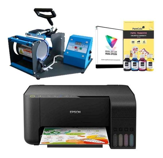 Máquina De Estampar Canecas 110v + Impressora Sublimática