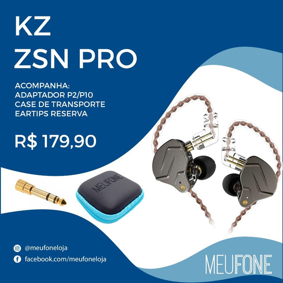 Fone Kz Zsn Pro Cinza