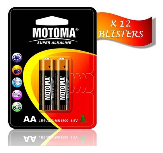 Pila Batería Alcalina A A 1.5 V Motoma Pack 12 Blisters 24 U