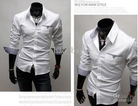 Camisa Social Masculina Slim Fit Manga Longa De Luxo Branca