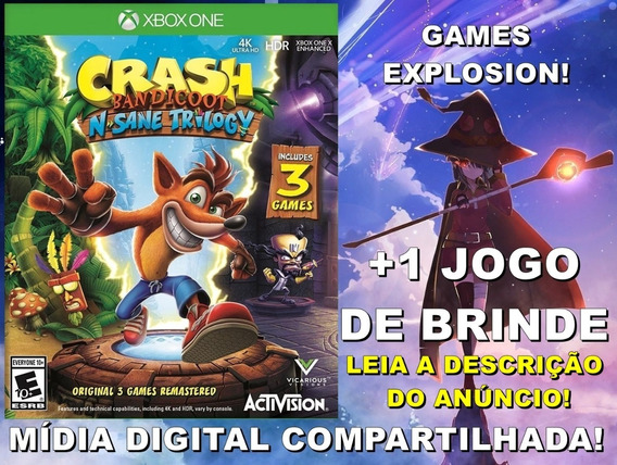 Crash N. Sane Trilogy Xbox One +1 Jogo - Mídia Digital