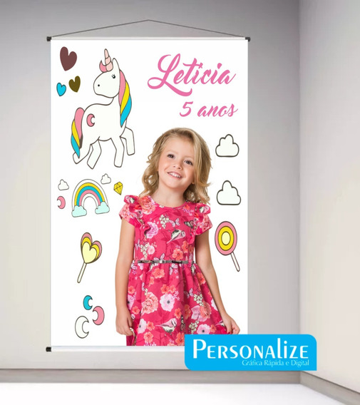 Banner Lona Infantil Unicornio Com Foto 1,00x0,80cm