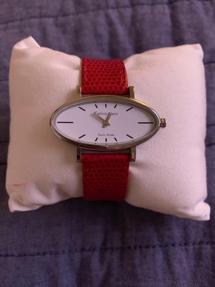 Relógio Calvin Klein Feminino Pulseira Couro Vermelha
