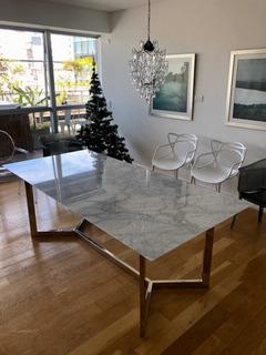 Mesa Comedor Cromada Mármol - Carrara Design -