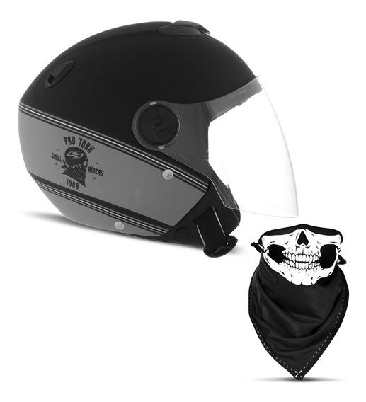 Capacete Moto Pro Tork New Atomic Hd Skull Preto E Laranja
