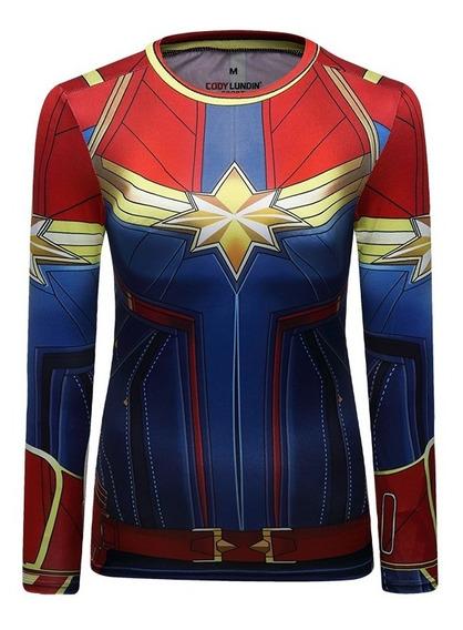 Camisa Compresion Marvel Avengers Capitana Marvel Elite Playera Blusa Mujer Manga Larga Licra Crossfit Gym Rashguard