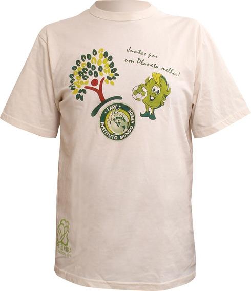 Camiseta Algodão Cru Estampa Mundo Verde (c/semente Árvore)