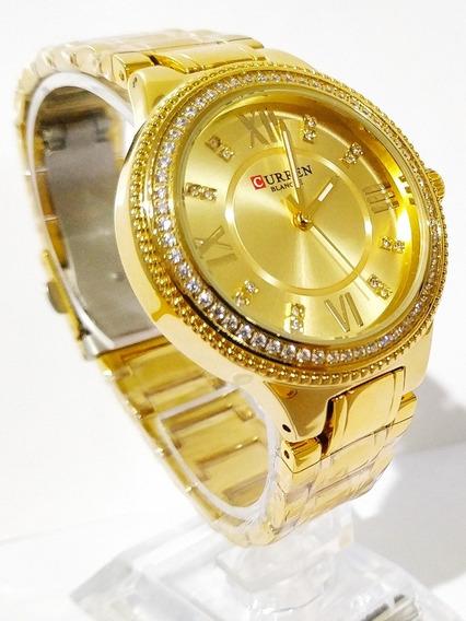 Relógio Feminino Com Pedras Tamanho Médio Com Cx. P/presente