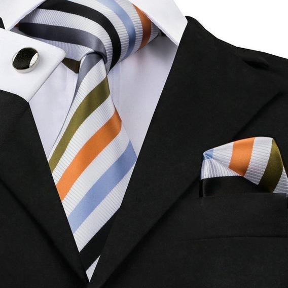 B1090 Seda | Corbata Pañuelo Mancuernill - Colores Diagonal